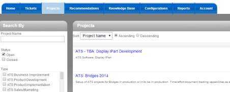 Projects Tab
