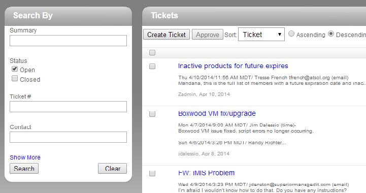 Tickets Tab - Search and View Options
